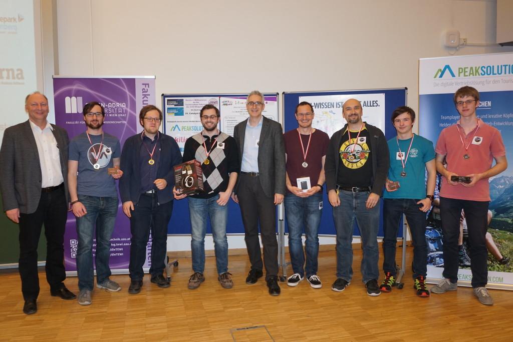 Plätze 1-3 beim allgemeinen Contest mit DI Zandonella (WKO) und Prof. Andreas Bollin (IID)